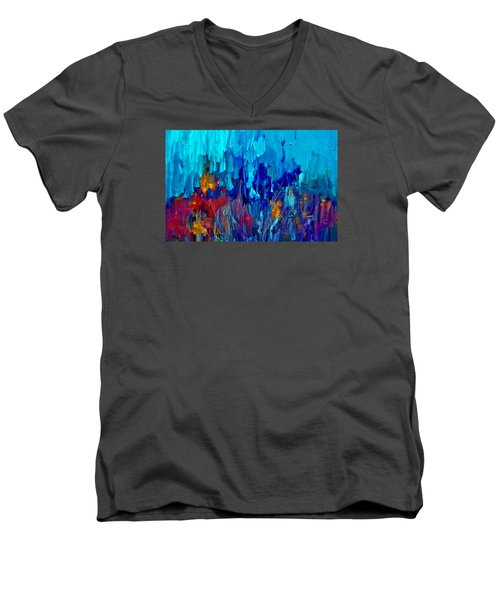Painterly Garden Flowers Men's V-Neck T-Shirt by Lisa Kaiser