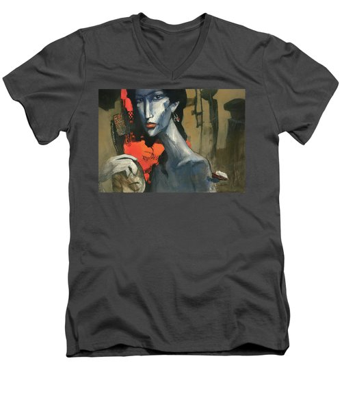 Painting Of The Lady _ 1 Men's V-Neck T-Shirt by Behzad Sohrabi