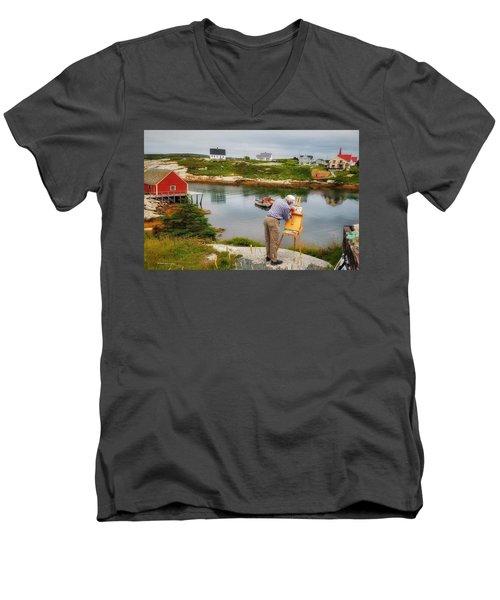 Painting Peggys Cove Men's V-Neck T-Shirt