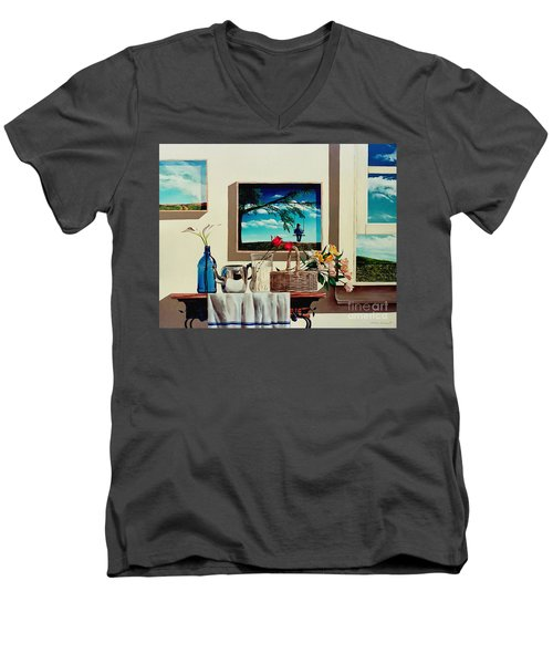 Men's V-Neck T-Shirt featuring the painting Paintings Within A Painting by Christopher Shellhammer