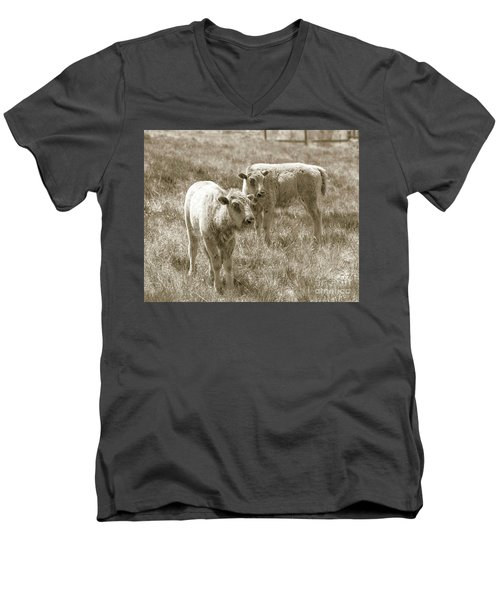 Men's V-Neck T-Shirt featuring the photograph Pair Of Baby Buffalos by Rebecca Margraf