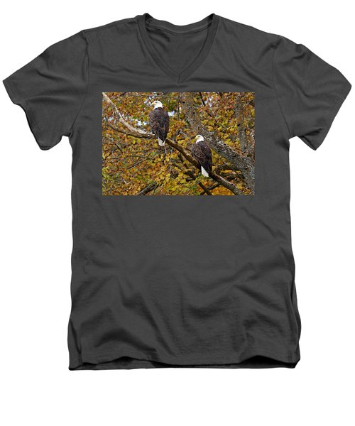 Pair Of Eagles In Autumn Men's V-Neck T-Shirt by Larry Ricker