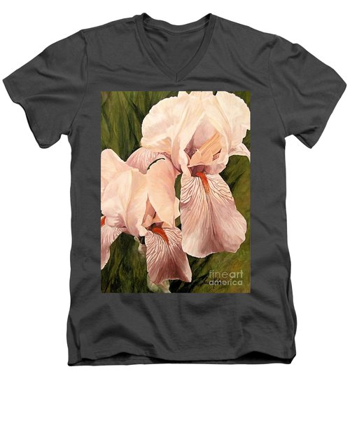 Men's V-Neck T-Shirt featuring the painting Pair Of Peach Iris  by Laurie Rohner