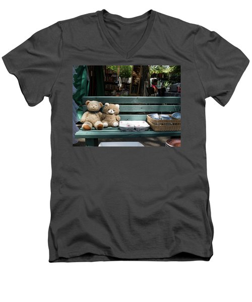 Teddy Bear Lovers On The Banch Men's V-Neck T-Shirt by Yoel Koskas
