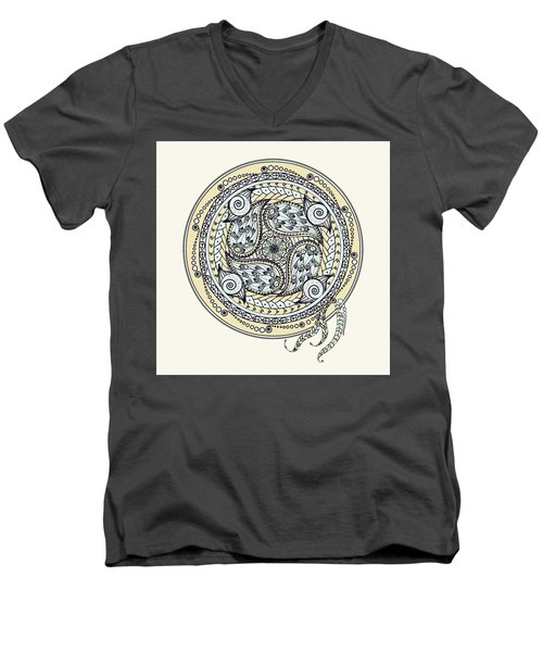 Men's V-Neck T-Shirt featuring the drawing Paisley Balance Mandala by Deborah Smith