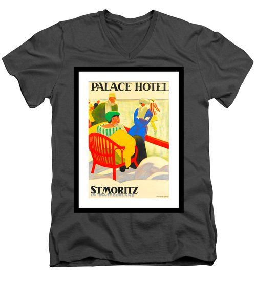 Palace Hotel St Moritz Emil Cardinaux 1920 Men's V-Neck T-Shirt