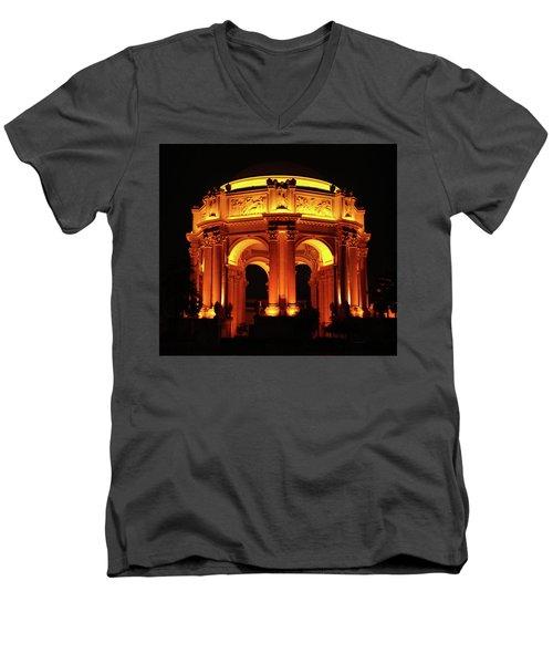 Palace Of Fine Arts - Dome At Night Men's V-Neck T-Shirt