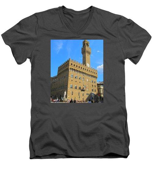Palazzo Vecchio Florence Men's V-Neck T-Shirt by Lisa Boyd