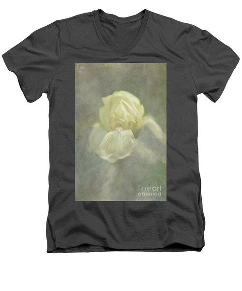Men's V-Neck T-Shirt featuring the digital art Pale Misty Iris by Lois Bryan