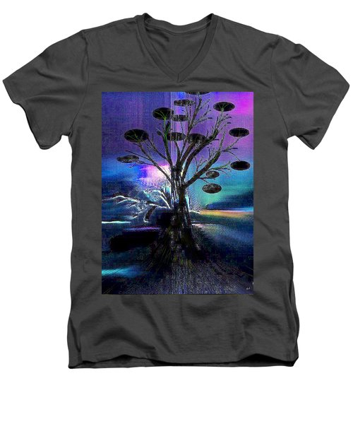 Men's V-Neck T-Shirt featuring the digital art Pale Moonlight by Yul Olaivar