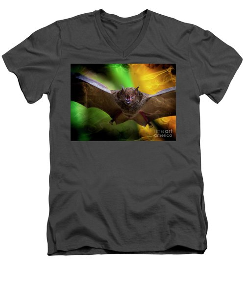 Men's V-Neck T-Shirt featuring the photograph Pale Spear-nosed Bat In The Amazon Jungle by Al Bourassa