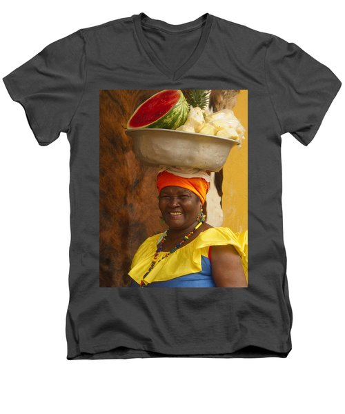 Palenquera In Cartagena Colombia Men's V-Neck T-Shirt by David Smith