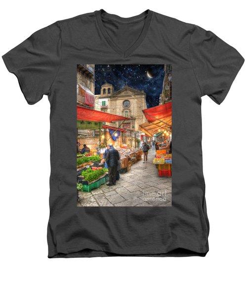Palermo Market Place Men's V-Neck T-Shirt by Juli Scalzi