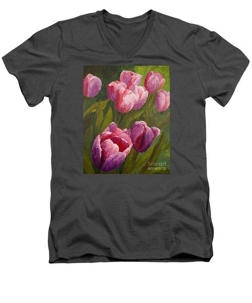 Palette Tulips Men's V-Neck T-Shirt by Phyllis Howard