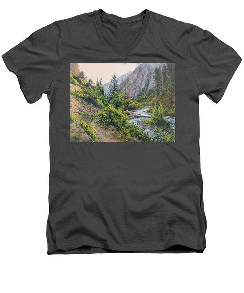 Palisades Creek  Men's V-Neck T-Shirt by Steve Spencer