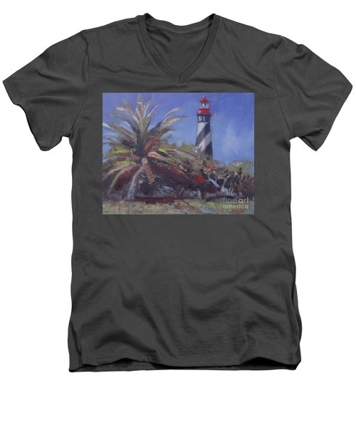 Palm By The Lighthouse Men's V-Neck T-Shirt by Mary Hubley