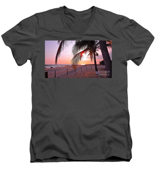 Palm Collection - Sunset Men's V-Neck T-Shirt by Victor K
