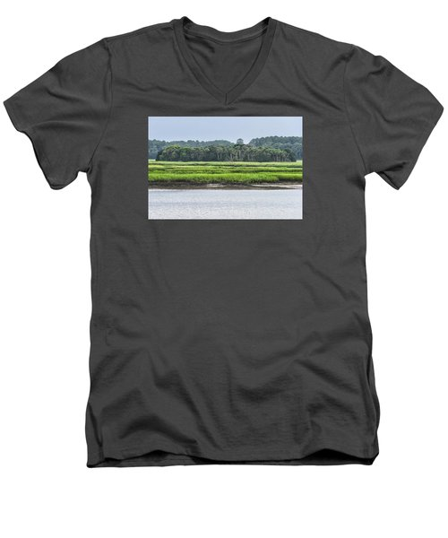Men's V-Neck T-Shirt featuring the photograph Palm Island by Margaret Palmer
