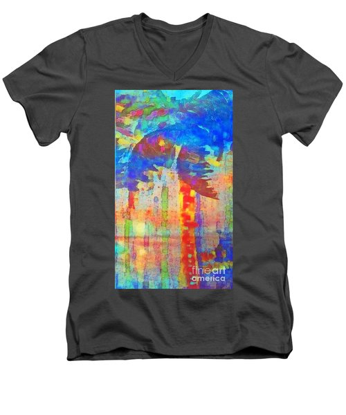 Palm Party Men's V-Neck T-Shirt by Holly Martinson