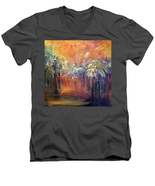 Palm Passage Men's V-Neck T-Shirt by Roberta Rotunda