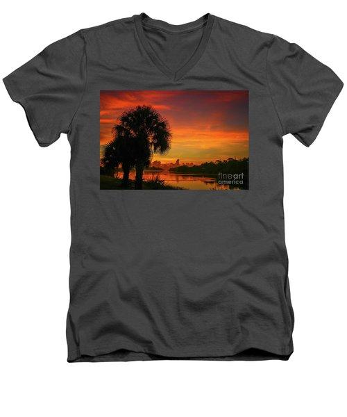 Palm Silhouette Sunrise Men's V-Neck T-Shirt