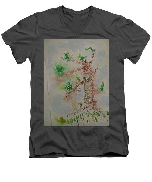 Palm Tree Men's V-Neck T-Shirt by AJ Brown