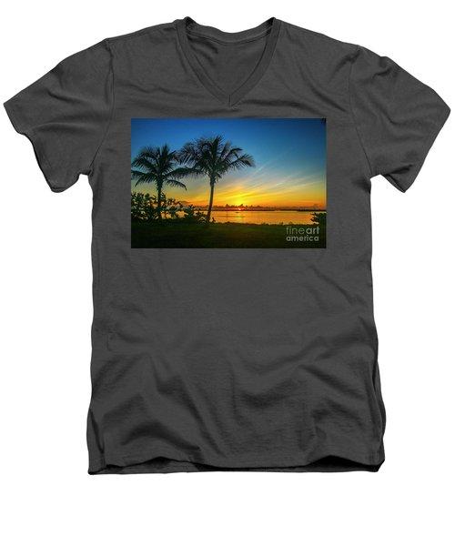 Palm Tree And Boat Sunrise Men's V-Neck T-Shirt