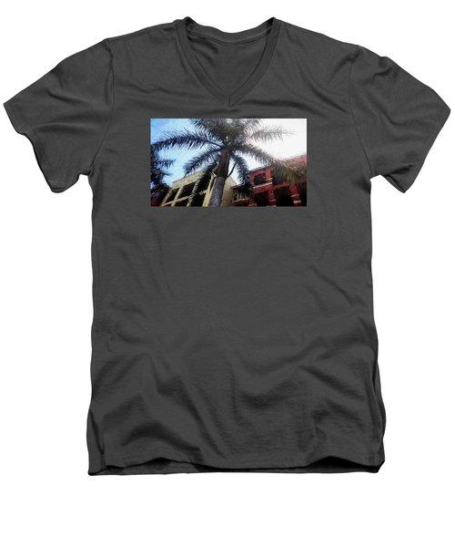 Palm Tree Art Men's V-Neck T-Shirt by Rena Trepanier