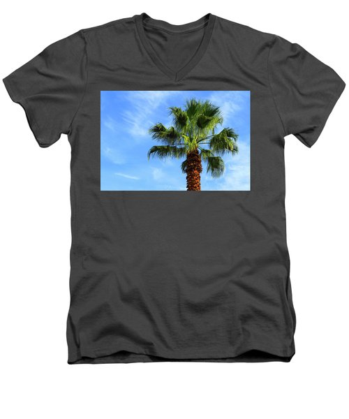 Palm Tree, Blue Sky, Wispy Clouds Men's V-Neck T-Shirt