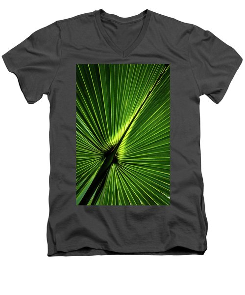 Palm Tree With Back-light Men's V-Neck T-Shirt
