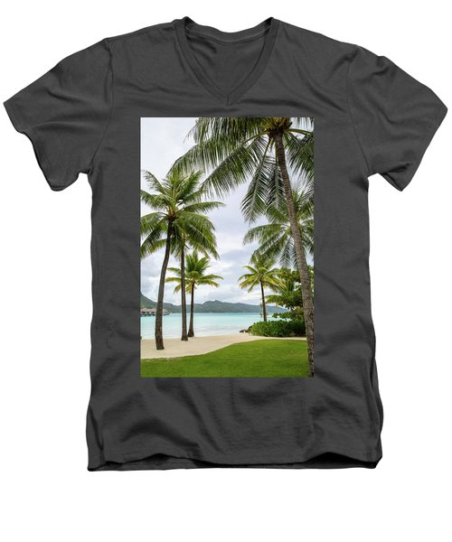 Men's V-Neck T-Shirt featuring the photograph Palm Trees 1 by Sharon Jones