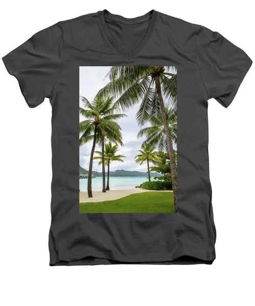 Palm Trees 1 Men's V-Neck T-Shirt by Sharon Jones