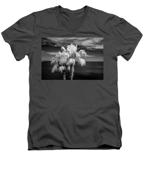 Men's V-Neck T-Shirt featuring the photograph Palm Trees At Laguna Beach In Infrared Black And White by Randall Nyhof