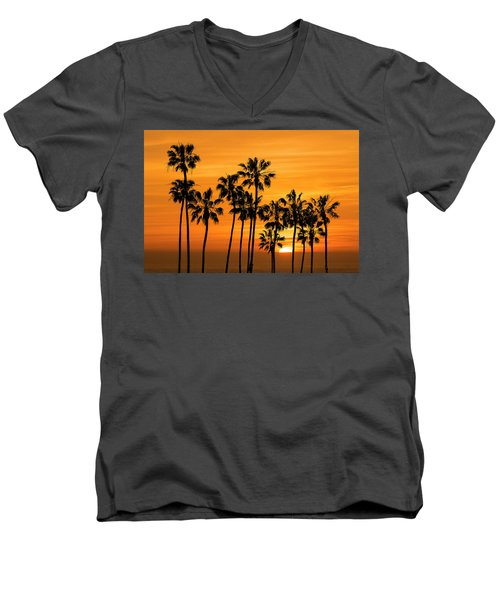 Men's V-Neck T-Shirt featuring the photograph Palm Trees At Sunset By Cabrillo Beach by Randall Nyhof