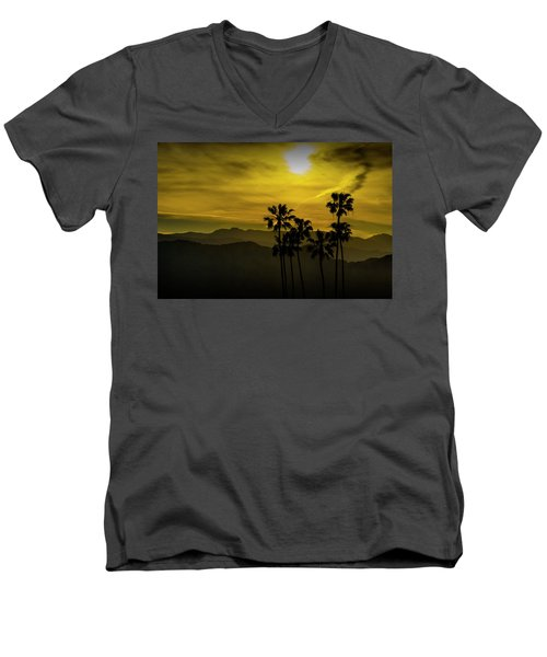 Men's V-Neck T-Shirt featuring the photograph Palm Trees At Sunset With Mountains In California by Randall Nyhof