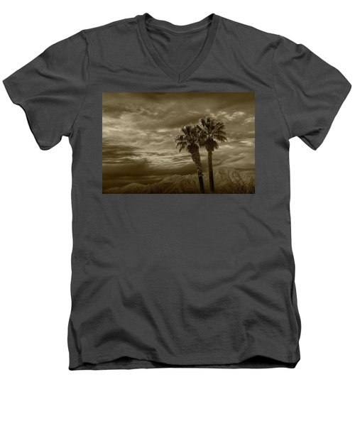 Men's V-Neck T-Shirt featuring the photograph Palm Trees By Borrego Springs In Sepia Tone by Randall Nyhof