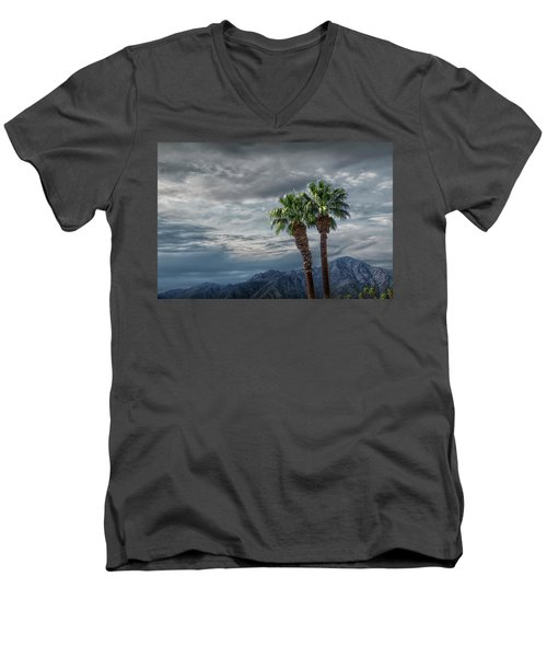 Men's V-Neck T-Shirt featuring the photograph Palm Trees By Borrego Springs In The Anza-borrego Desert State Park by Randall Nyhof