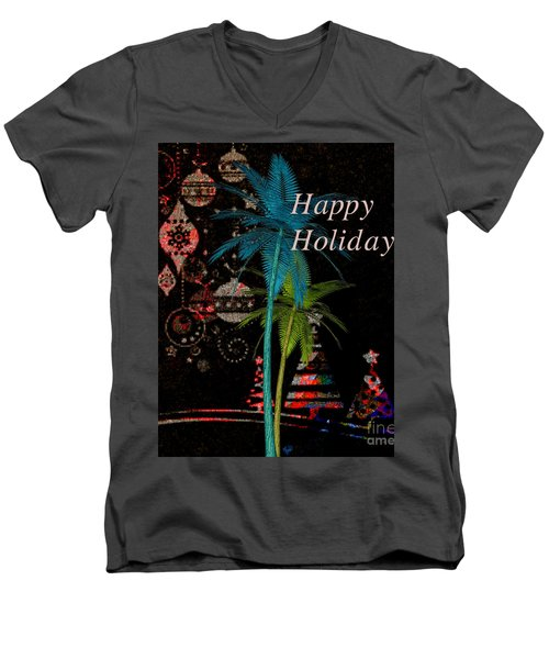 Men's V-Neck T-Shirt featuring the digital art Palm Trees Happy Holidays by Megan Dirsa-DuBois