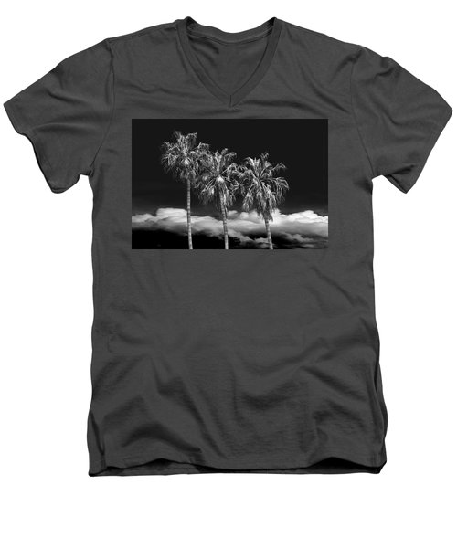 Men's V-Neck T-Shirt featuring the photograph Palm Trees In Black And White On Cabrillo Beach by Randall Nyhof