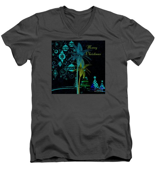 Men's V-Neck T-Shirt featuring the digital art Palm Trees Merry Christmas by Megan Dirsa-DuBois