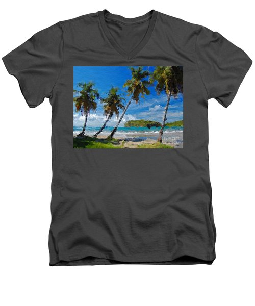 Men's V-Neck T-Shirt featuring the digital art Palm Trees On Sandy Beach by Anthony Fishburne