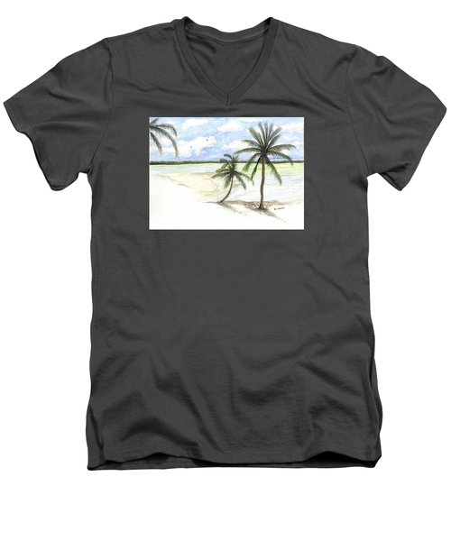 Palm Trees On The Beach Men's V-Neck T-Shirt by Darren Cannell