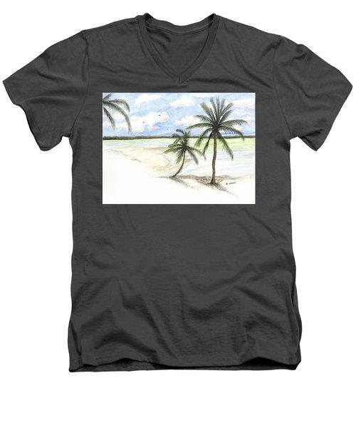 Palm Trees On The Beach Men's V-Neck T-Shirt