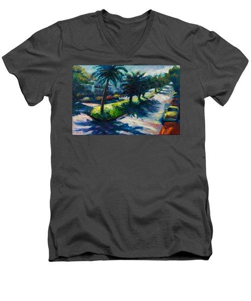 Palm Trees Men's V-Neck T-Shirt by Rick Nederlof