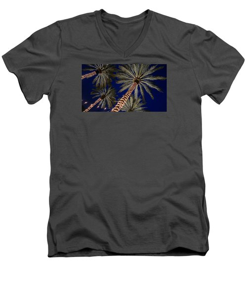 Palm Trees Wrapped In Lights Men's V-Neck T-Shirt