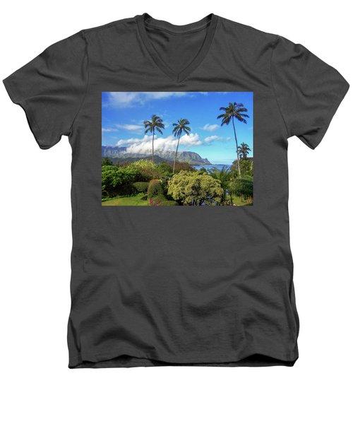 Palms At Hanalei Men's V-Neck T-Shirt by James Eddy