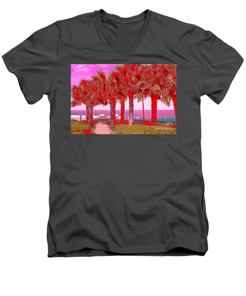 Palms In Red Men's V-Neck T-Shirt
