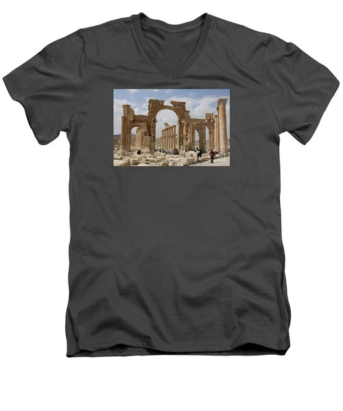 Palmyra Before...triumphal Arch Men's V-Neck T-Shirt