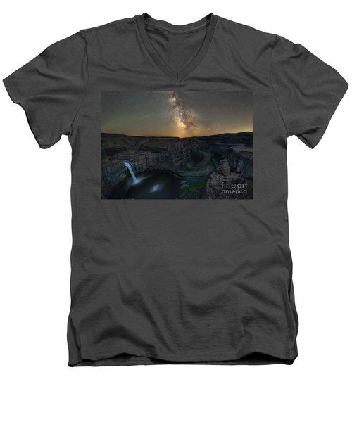 Palouse Falls Milky Way Galaxy  Men's V-Neck T-Shirt