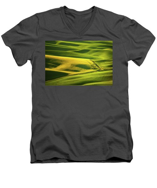 Men's V-Neck T-Shirt featuring the photograph Palouse Shades Of Green by Dan Mihai